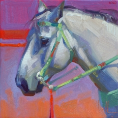Badlands Silver - colorful oil painting of gray horse