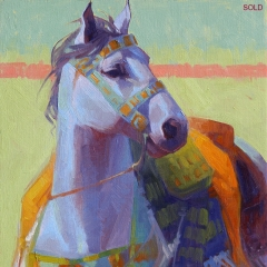 Blue Wind - colorful oil painting of blue gray horse