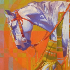 Gathering - colorful oil painting of white gray horse