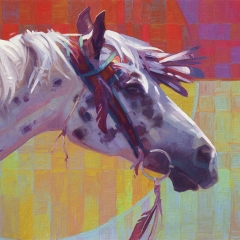 Red Feather Day - colorful oil painting of appaloosa horse in native nez perce gear