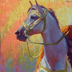 Song that Sings - colorful oil painting of blue gray horse in native crow gear