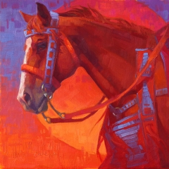 Interweaving - colorful oil painting of red sorrel horse