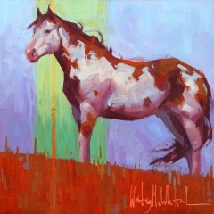 Painted Hill - colorful oil painting of paint pinto pony horse on a hill