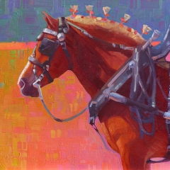 Parade Rest - colorful oil painting of sorrell chestnut belgian draft horse