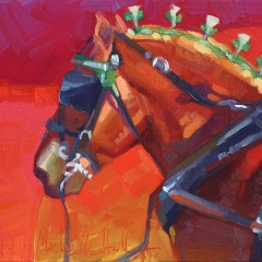 Ruby in Emeralds - colorful oil painting of sorrel chestnut draft horse in harness