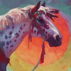 Sunspots - colorful oil painting of appaloosa horse in native nez perce regalia
