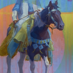 Traveling Blue - colorful oil painting of blue black horse in native crow regalia
