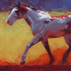 Wildcard - colorful oil painting of paint pinto pony horse